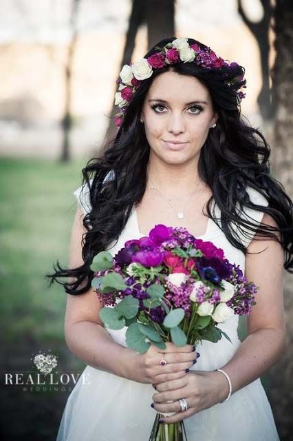 coroa flores rosa roxo casamento